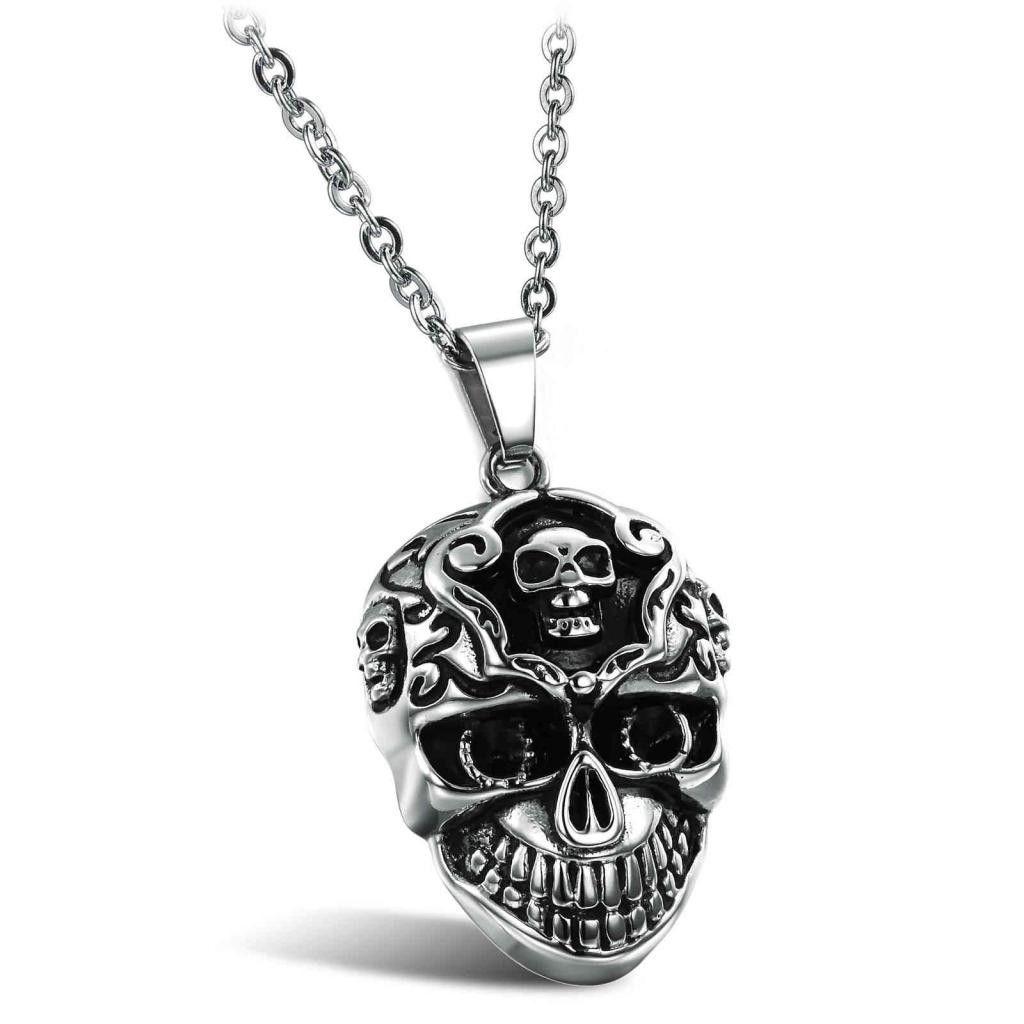 Titanium Steel Cool Skull Man Necklace