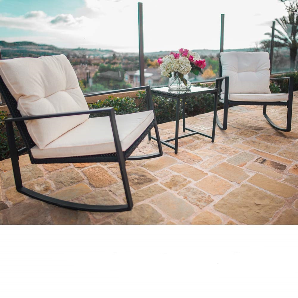 Suncrown 3 Piece Outdoor Patio Wicker Bistro Rocking Chair Set Two Chairs With Glass Coffee Table Beige White Cushion Black Walmart Com In 2020 Rocking Chair Set White Cushions Patio Set