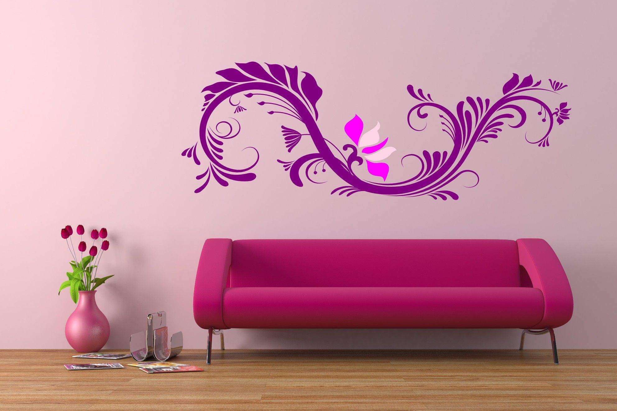 Modern And Stylish Pink Wall Decoration In Living Room Http Custom Paint Design For Living Room Walls Inspiration Design