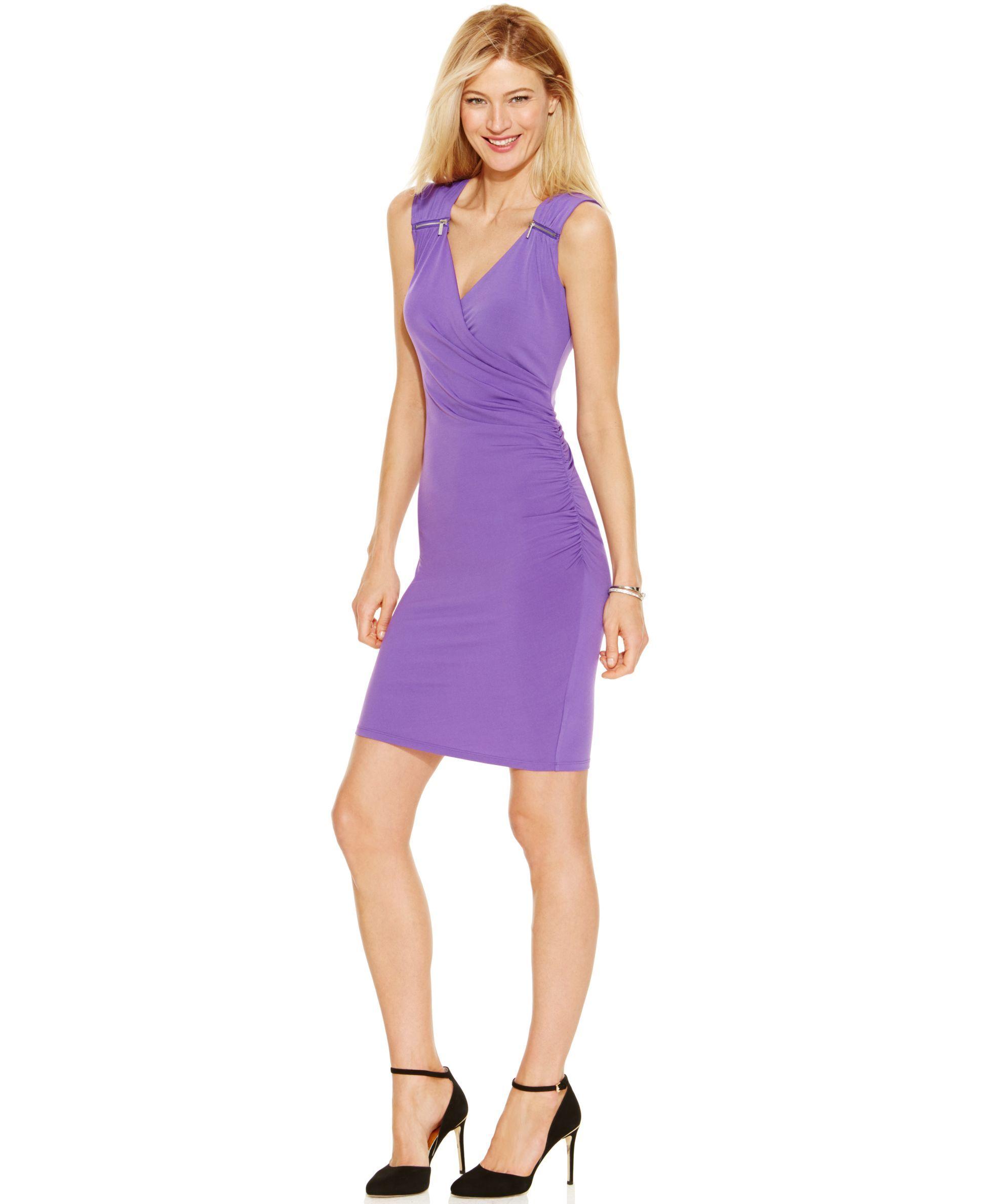 Michael Michael Kors Petite Zip-Shoulder Faux-Wrap Sheath Dress ...