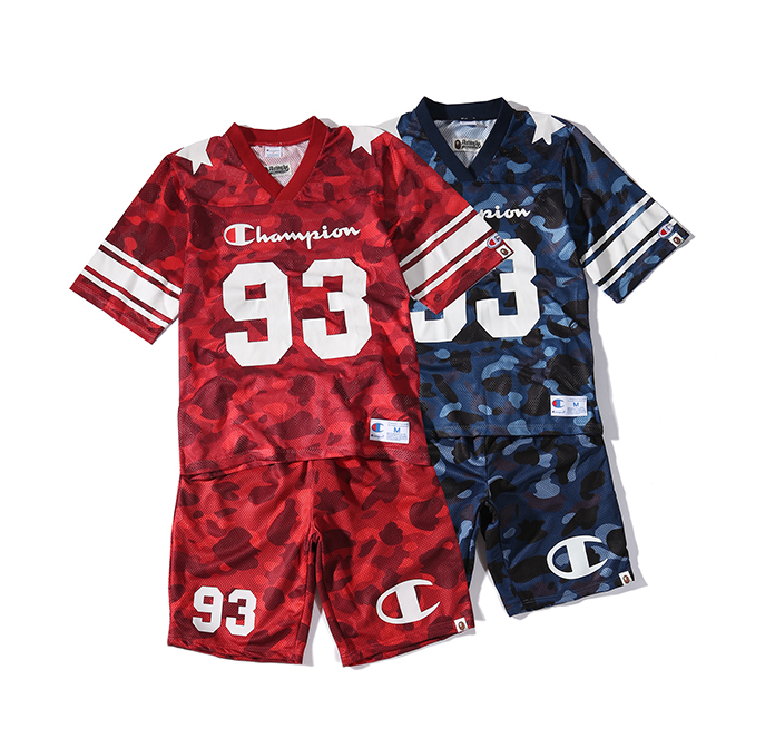 Champion 93 Ape Bape Stars Casual Basketball T Shirt Set Jersey