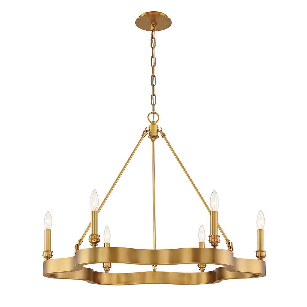Eurofase Leyton 6 Light Antique Brass Chandelier 33709 024