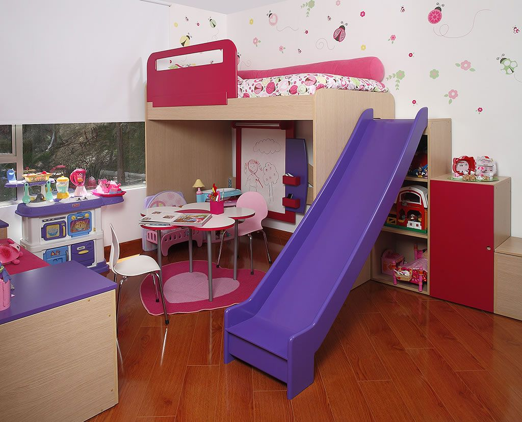 Camarote con rodadero y escritorio de flor kids rooms en for Camas infantiles diseno moderno
