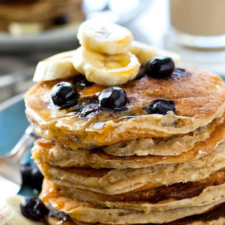 Blueberry Banana Oatmeal Pancakes Recipe Breakfast And Brunch With Pancake Mix Old Fashioned Oats Greek Sour Cream Pancakes Food Sweet Cream Pancakes Recipe