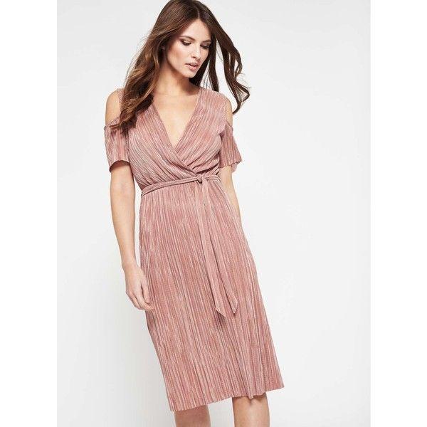 Miss Selfridge Pink Plisse Cold Shoulder Dress ($49) ❤ liked on ...