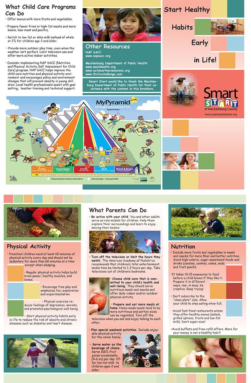 design layout on children s nutrition brochure for smart start of