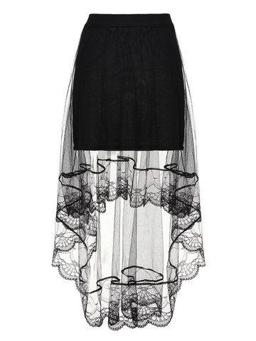 b435756c9da Sexy Women Mesh Sheer Solid Fake Two-piece High Low Maxi Skirt - Newchic Plus  Size Bottoms