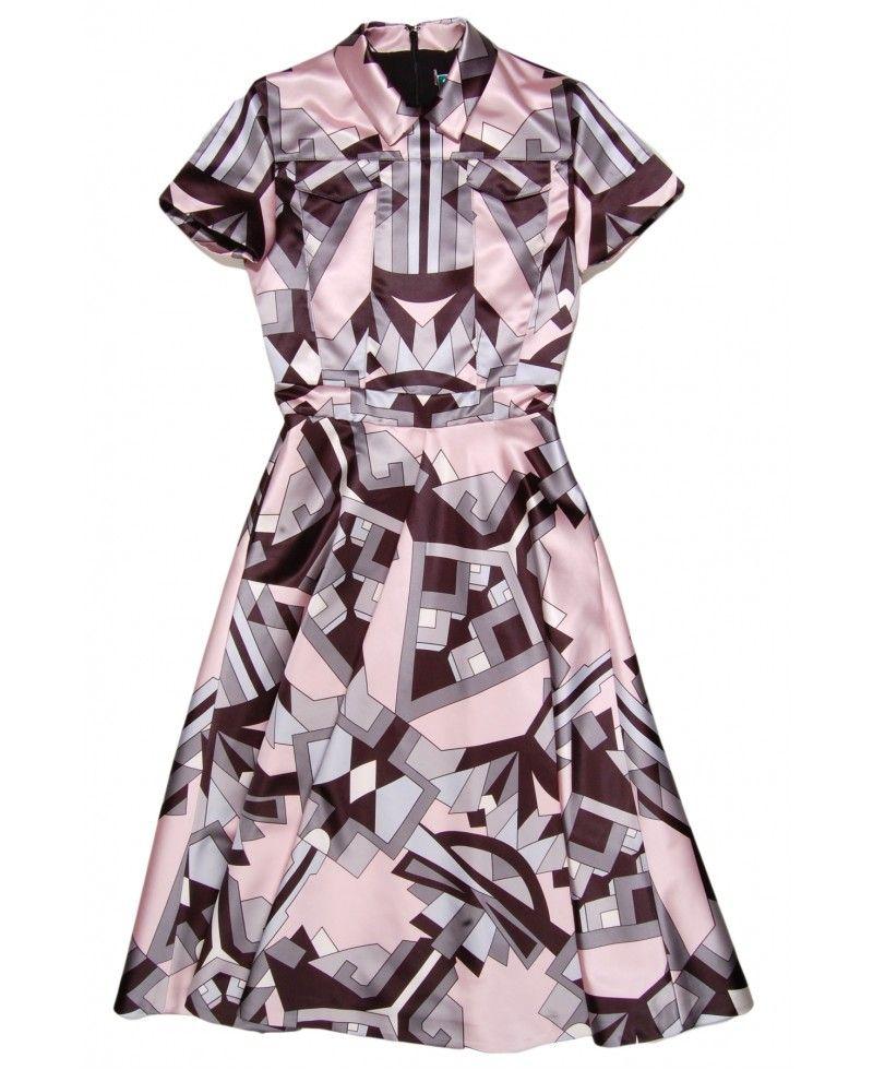 Msgm Satin Printed Dress in Pink