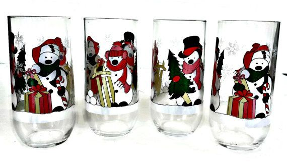 Vintage Snowman Drinking Glasses Set Four by EclecticVintager