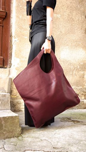 Photo of NEW Leather Bordeaux Bag / High Quality Tote Asymmetric Large Bag by AAKASHA A14176