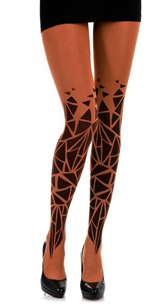 Triangles Pattern Print Tights Orange & Black Holidays Special: FREE Shipping on all orders, Buy 3 (or more..) GET 20% Off