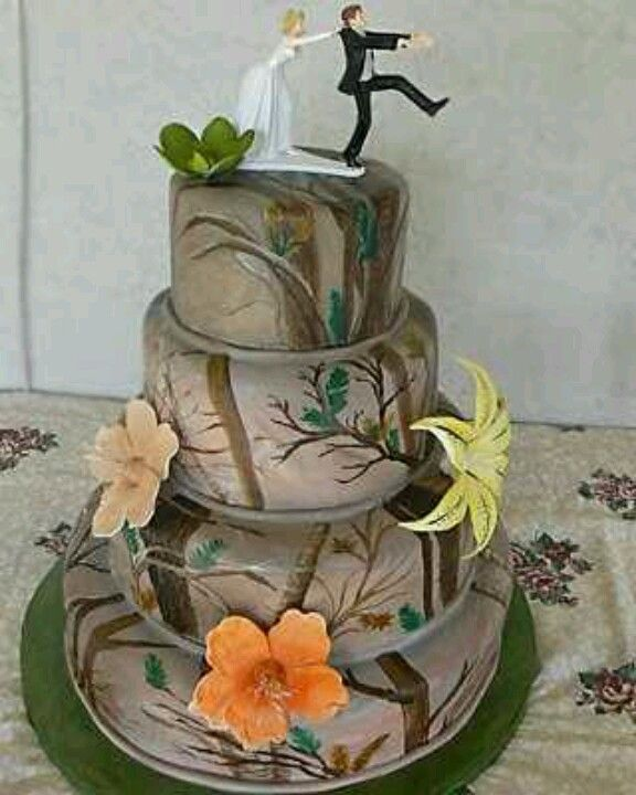 Cake Idea No Flowers 12 Point Buck Antlers Orange Ribbon Our