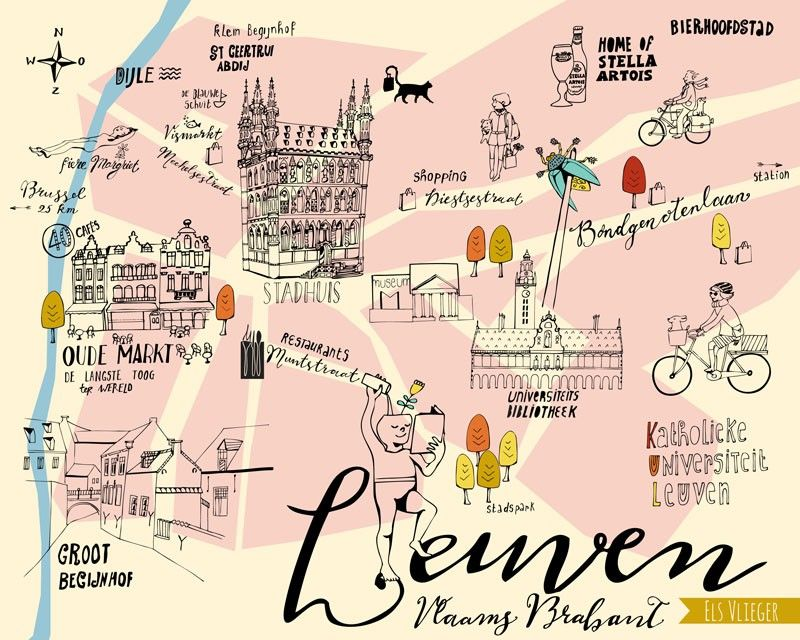 Illustrated map of Leuven Belgium by Els Vlieger Decor