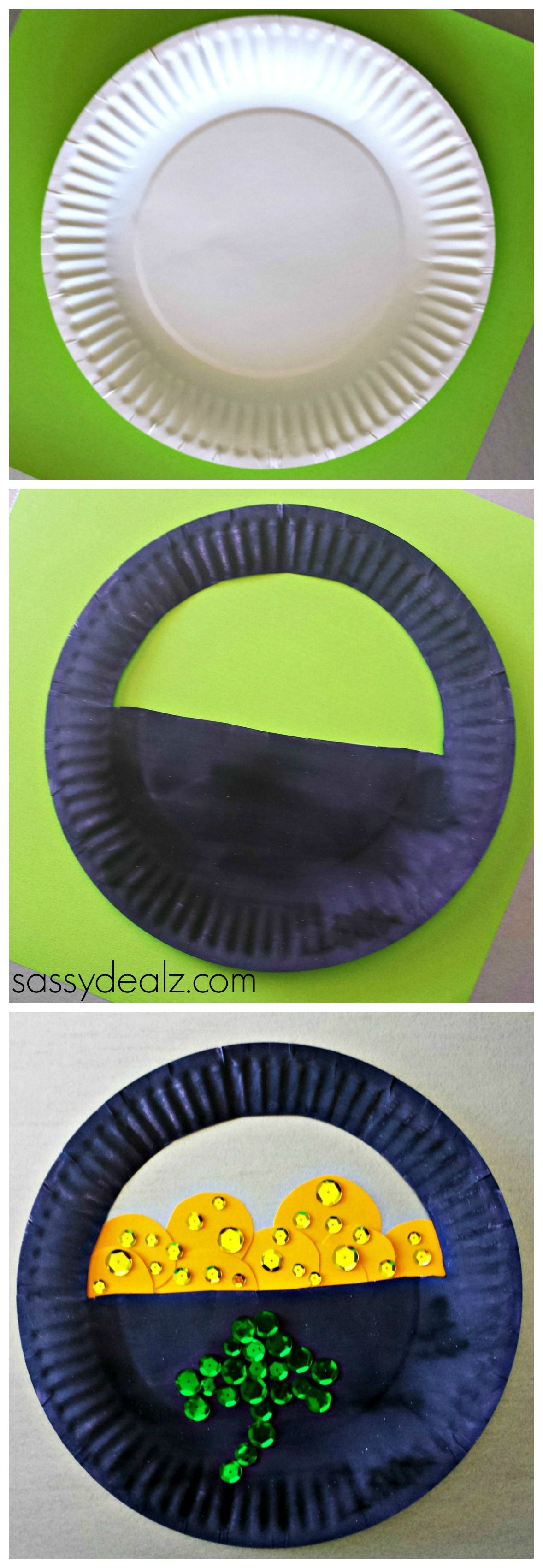 March arts and crafts - Paper Plate Pot Of Gold Craft For St Patrick S Day