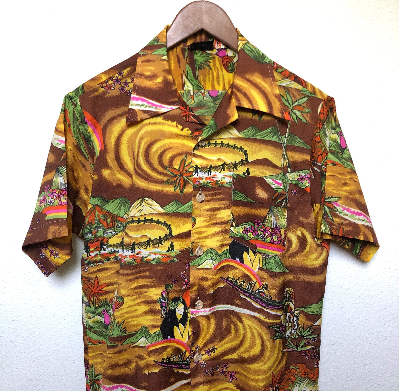 Vintage Tiki Hawaiian Button Up Shirt Brown Orange Large L Medium M