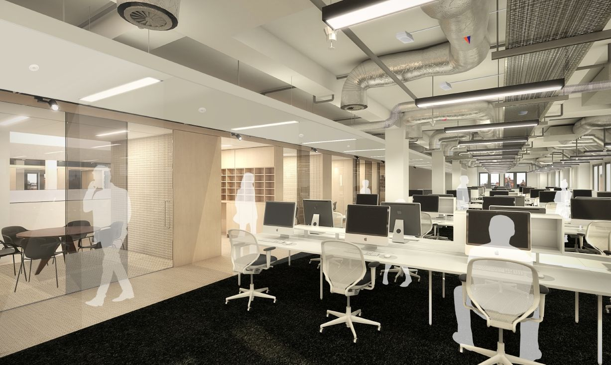 Office building design exposed services google search for Exposed ceiling design
