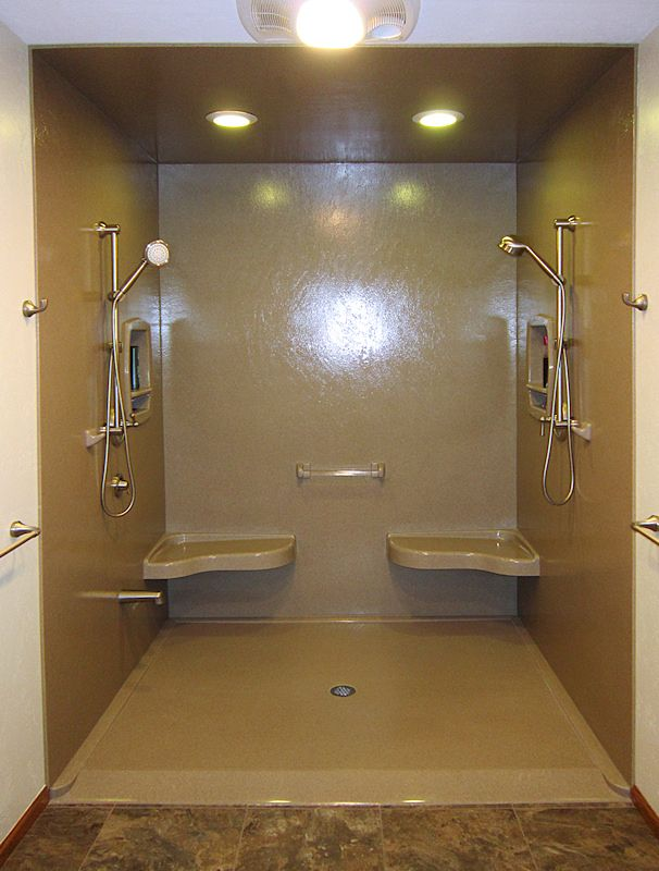 Standard Ramped Shower Base Pan With Two Extended Seats