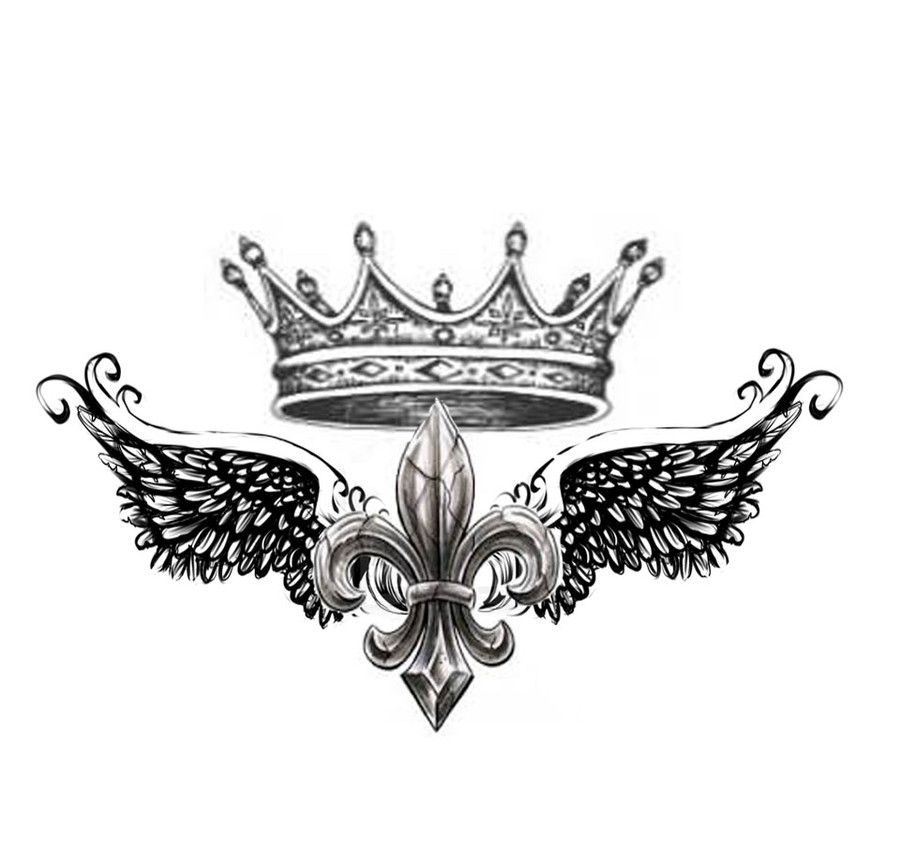 shoulder tattoo design of fleur de lis with crown by