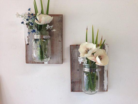 Reclaimed wood mason jar sconce set of 2 wall mount by TreetopWoodworks