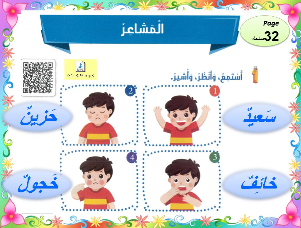 بوربوينت درس المشاعر لغير الناطقين بها للصف الاول مادة اللغة العربية Jig