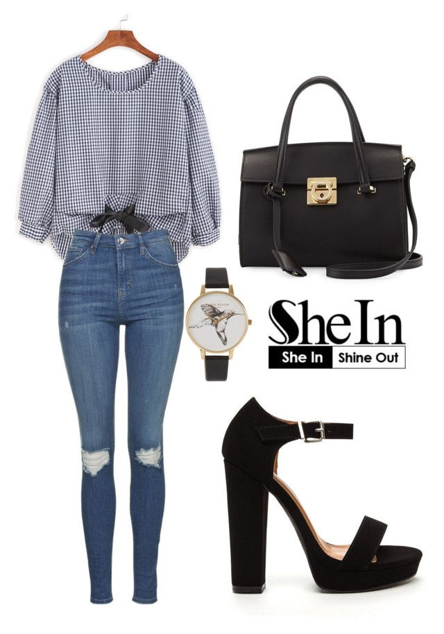 """""""SHEIN Blouse"""" by tania-alves ❤ liked on Polyvore featuring Topshop, Salvatore Ferragamo and Olivia Burton"""