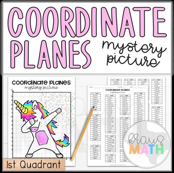 Unicorn Dab Coordinate Plane Mystery Picture (1st Quadrant