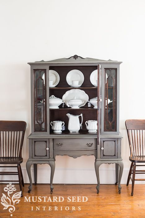 China Cabinet Painted In MMS Milk Paint Trophy, Wood Details, Fretwork And  Interior Left Unpainted
