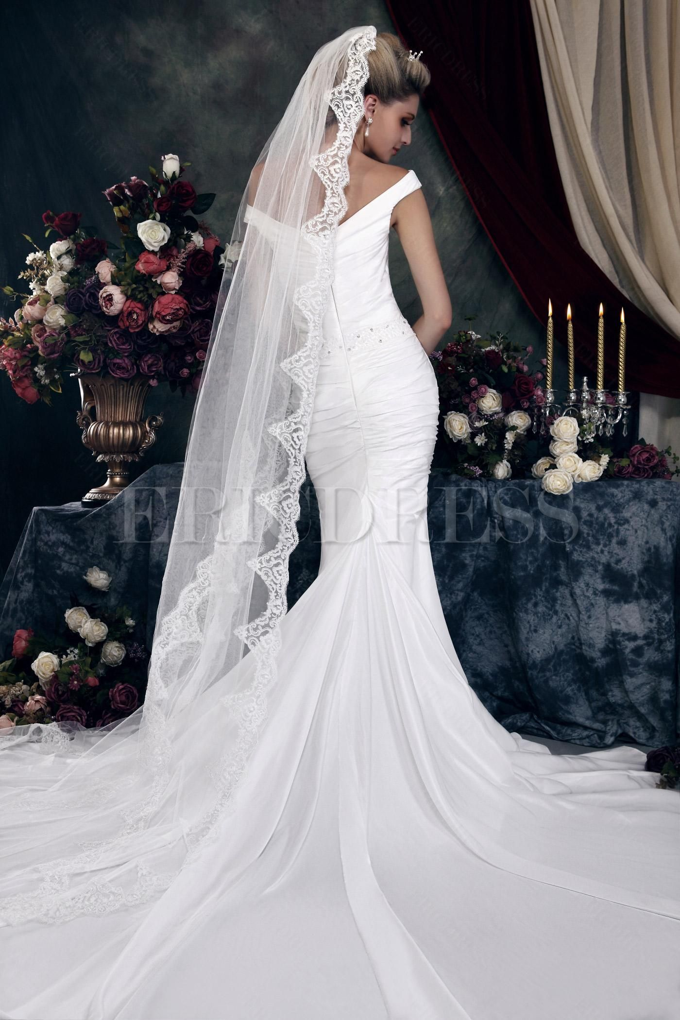 Elegant Trumpet/Mermaid V-neck Off-the-Shoulder Sleeveless Dashas Wedding Dress