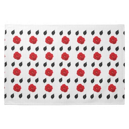 Red Roses and Black Leaves Kitchen Towel