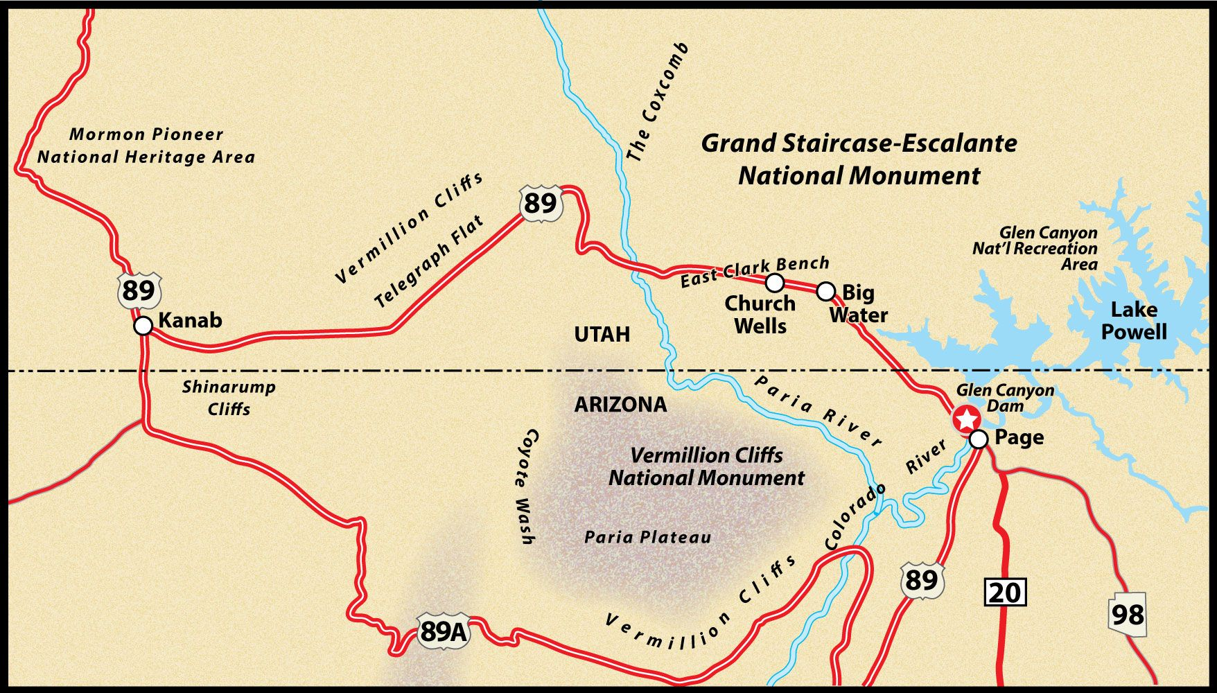 Map Of Highway 89 In Arizona.Us Route 89 Page To Kanab Road Trip Guide Map Route 89 Kanab