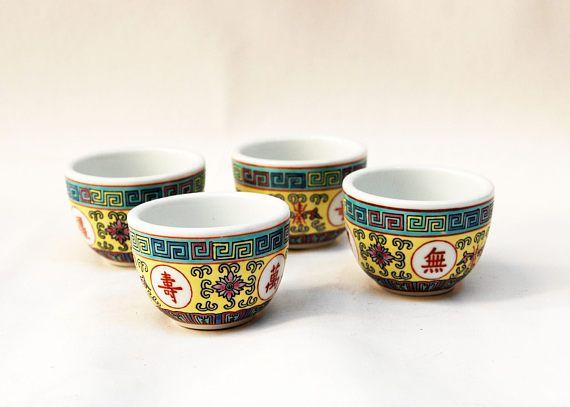 0c2bf52c181 tea cups no handles set of 4 cups china tea set sake cups small cups ...
