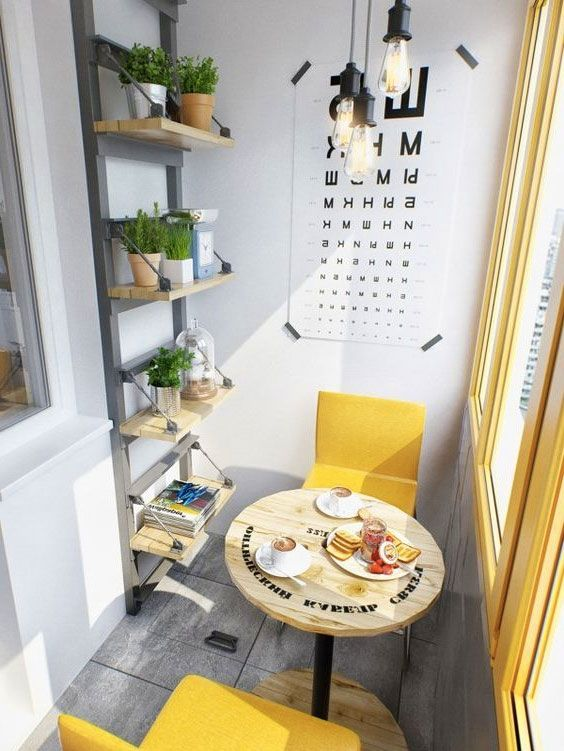A cozy balcony with yellow accents