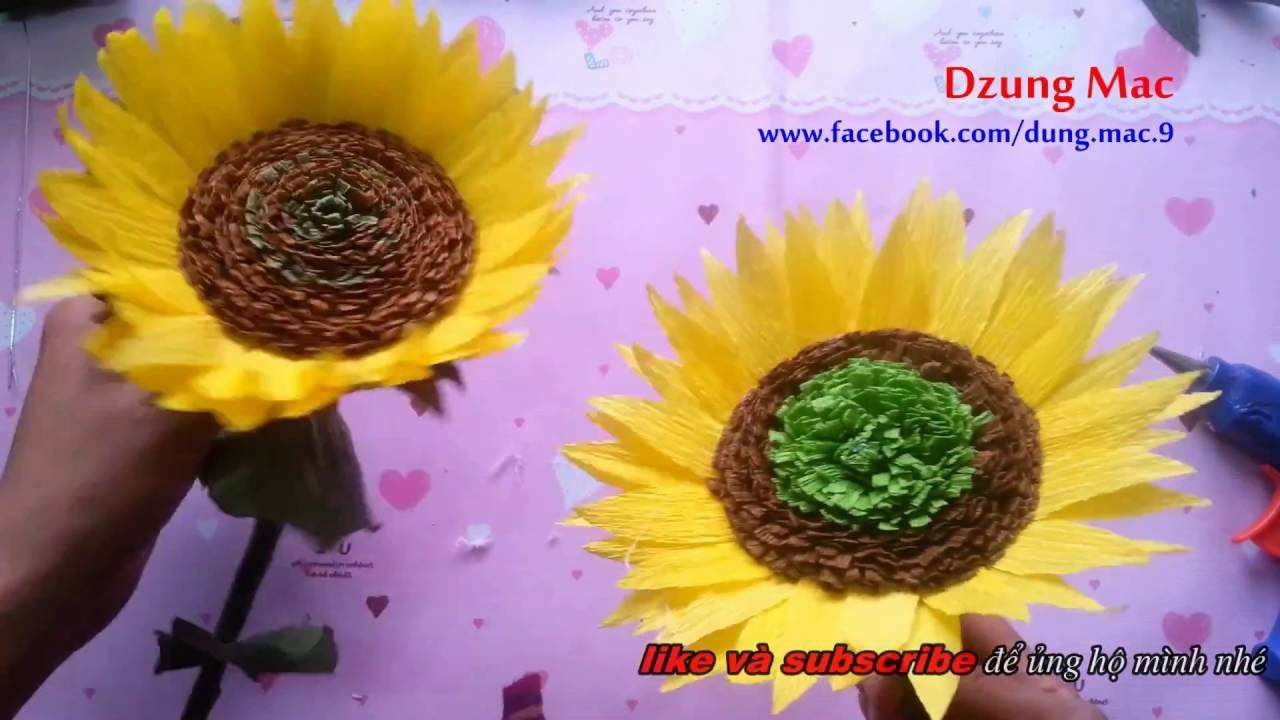 How To Make Crepe Paper Flowers Sunflower Tutorial Fast Version