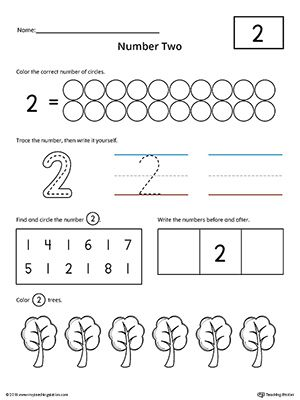 Number 2 Practice Worksheet | Numbers & Counting | Preschool number ...