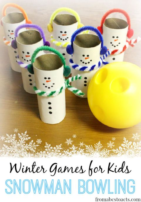 winter games for kids snowman bowling love this fun indoor game fo kids to burn off some energy on a cold winter day - Fun Christmas Games For Kids