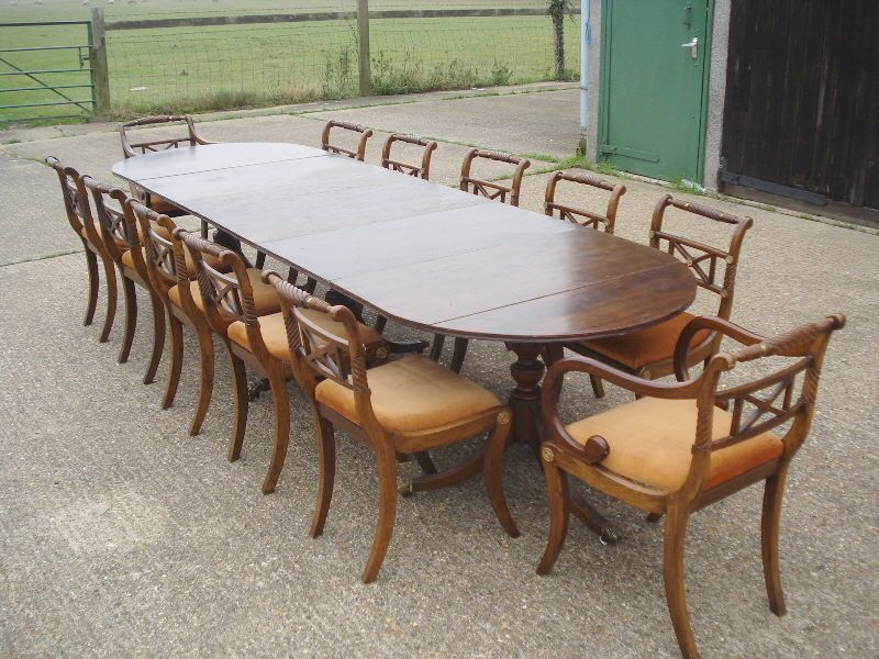 triple pedestal dining table to seat 12 to 14 peoplemeasures 132