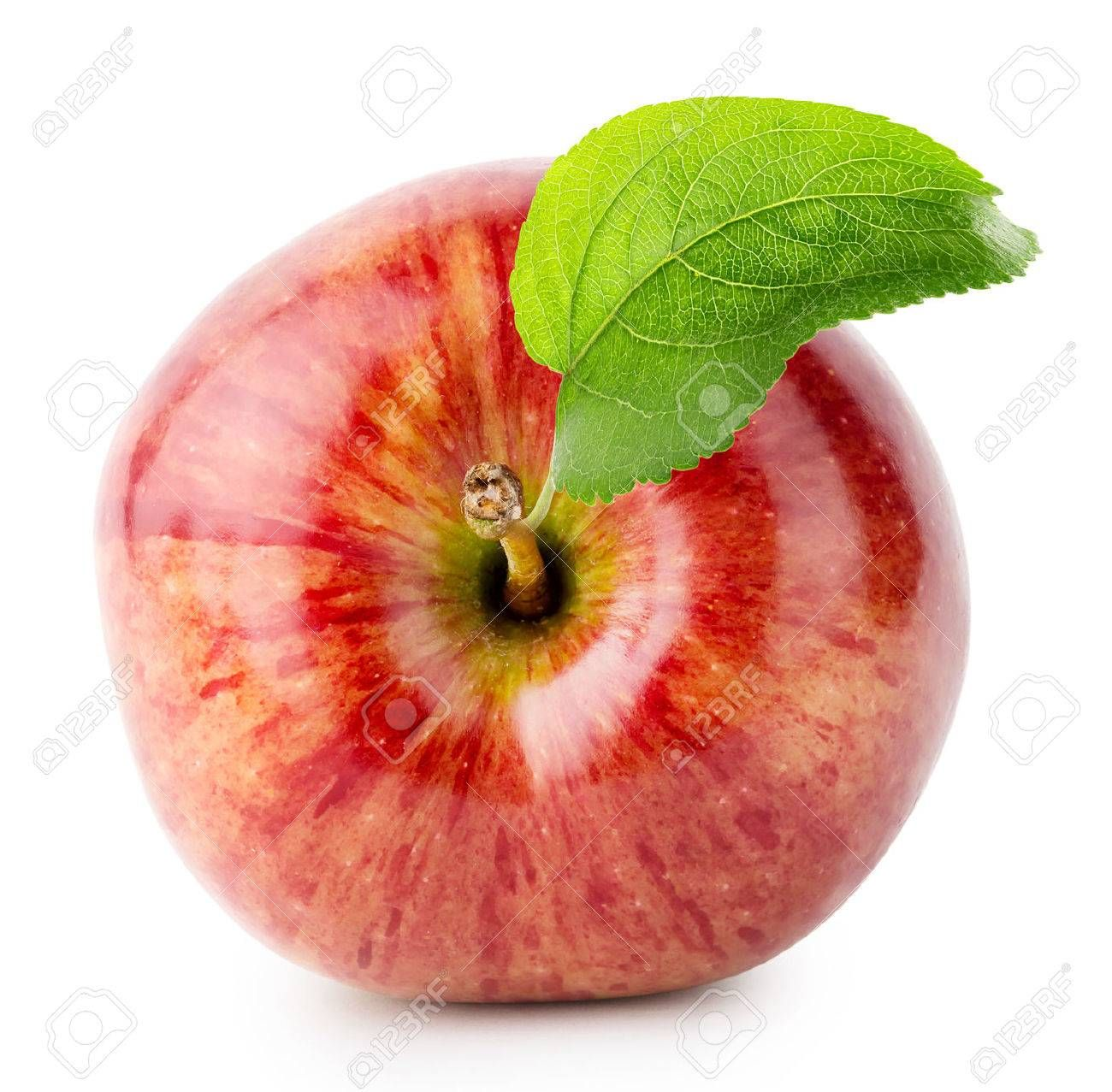 Shot From Above Red Apple With Green Leaf Isolated On White Background Aff Apple Green Shot Red White