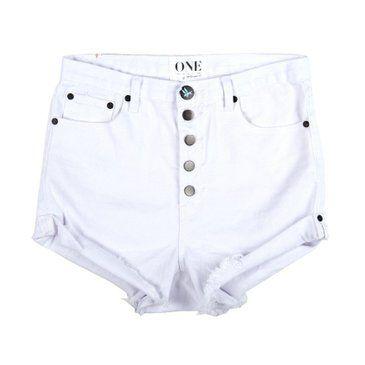 white high weist denim shorts