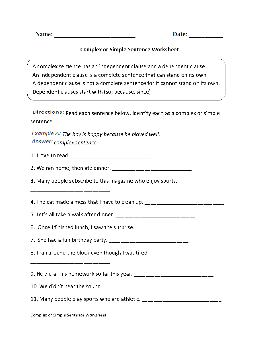 Complex or Simple Sentence Worksheet – Simple Sentence Worksheet