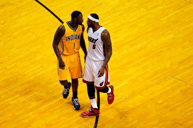 LeBron James and Lance Stephenson exchange words during the ECF 2014