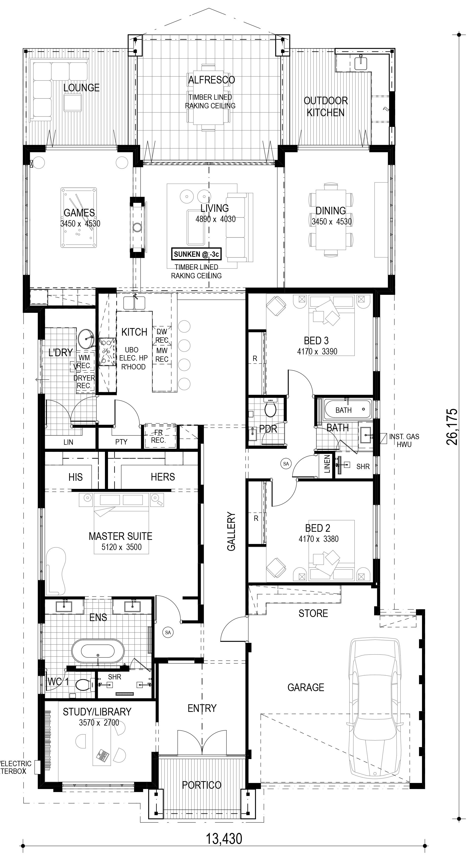 Single Storey House Design The Orlando A Generous Size Of 278 Sq M 15 95 X 22 43m De Single Storey House Plans French Country House Plans One Storey House