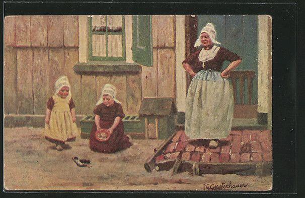 Künstler-AK Johan Georg Gerstenhauer: Mutter und ihre Töchter 0