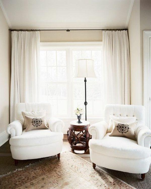 gemütlich raum gardinenideen vorhänge fenster modern designe weiß, Wohnzimmer dekoo