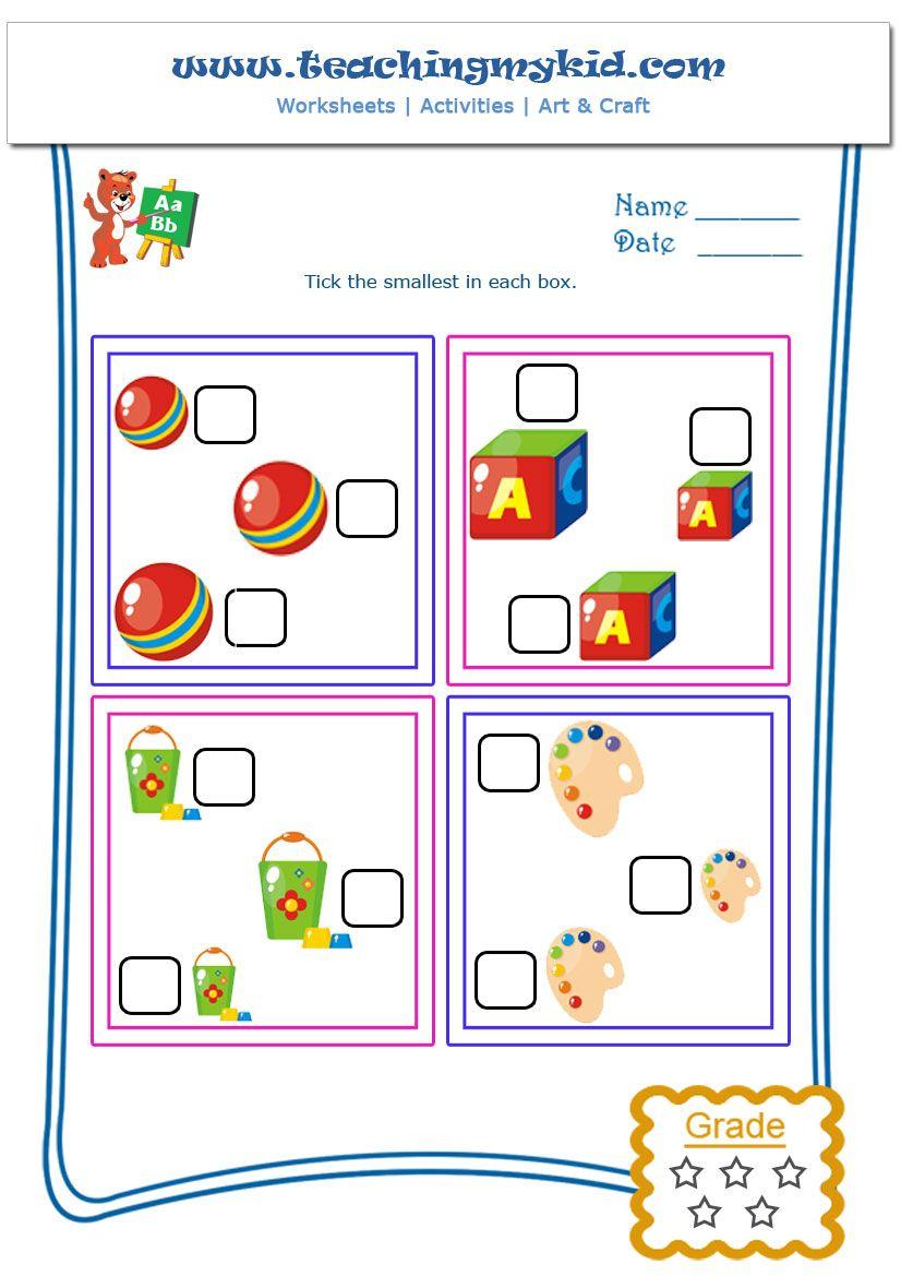 Tick The Smallest Worksheet 1 Teaching My Kid Kindergarten Activities Worksheets Free Printable Worksheets [ 1169 x 826 Pixel ]