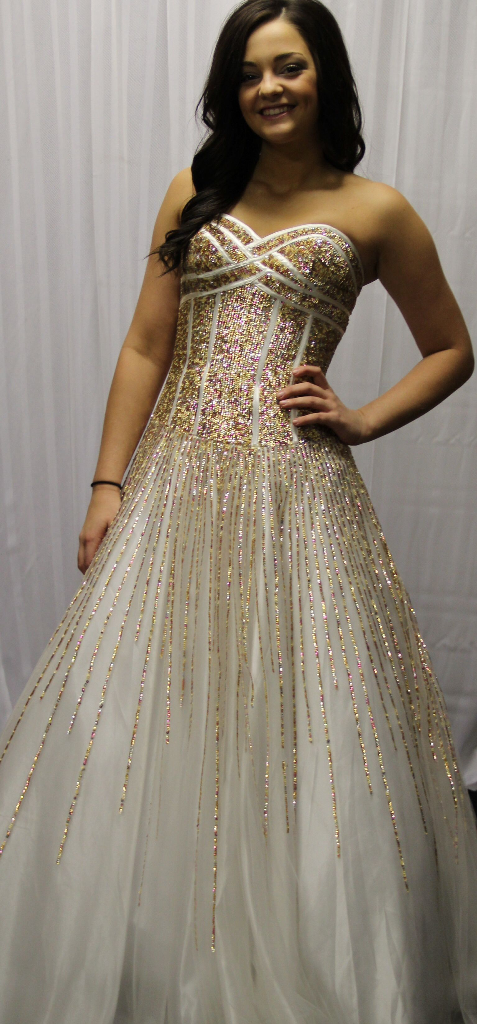 Pretty long white dress with gold sequins prom dresses pinterest