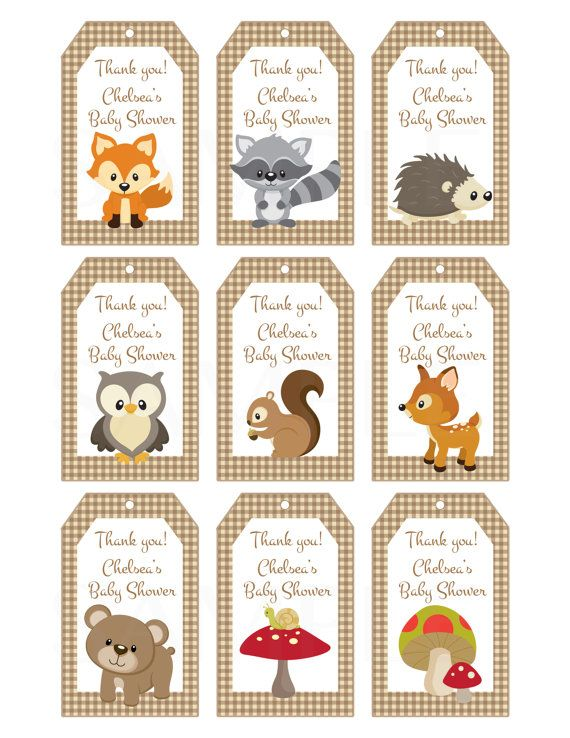 Woodland Friends Forest Animals Theme Baby Shower Favor Tags   Printable  File