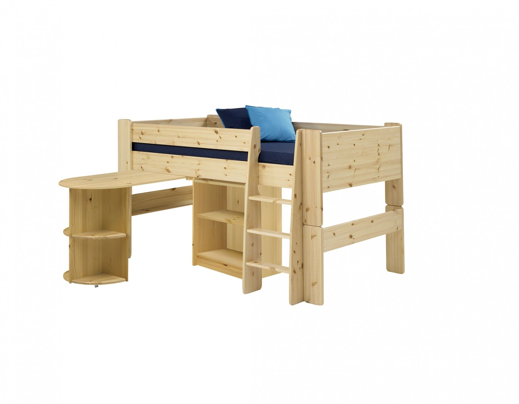 Steens For Kids Steens For Kids Mid Sleeper Frame With Pull Out Desk In Pine The