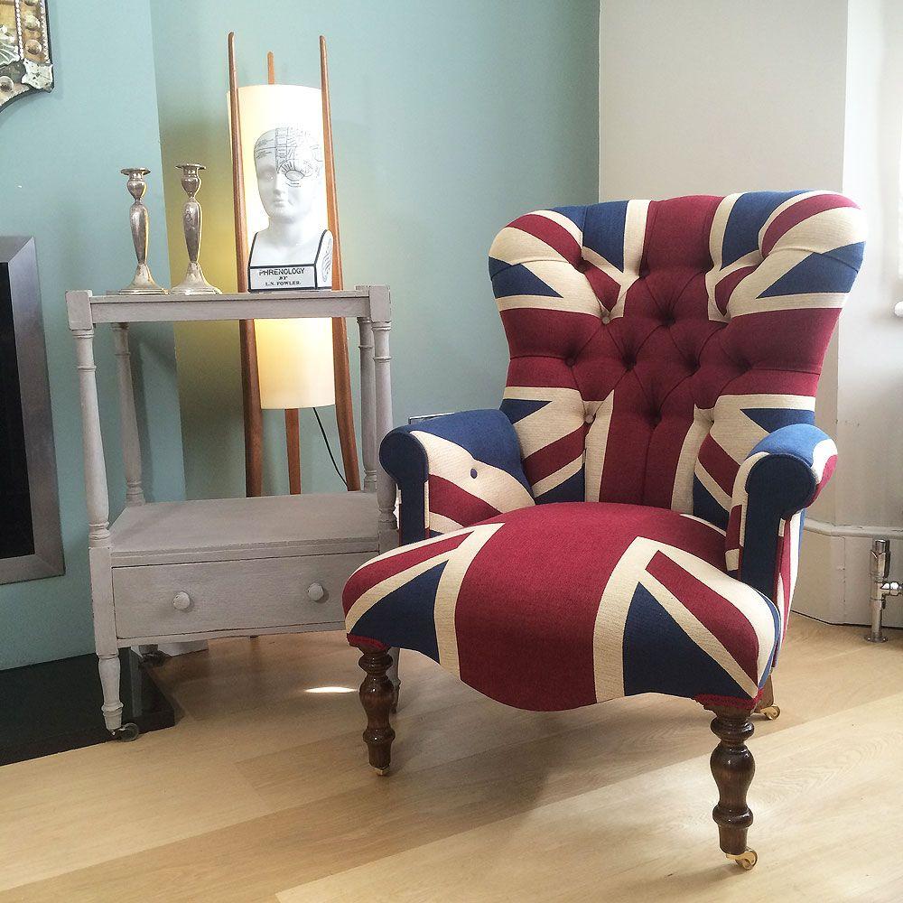 Beau Winston Union Jack Chair|antique Style Armchair| Buttonback Chair|  Interiors|Union Jack Chair|Union Jack Lounge Chair| Union Jack Seating|Union  Jack ...