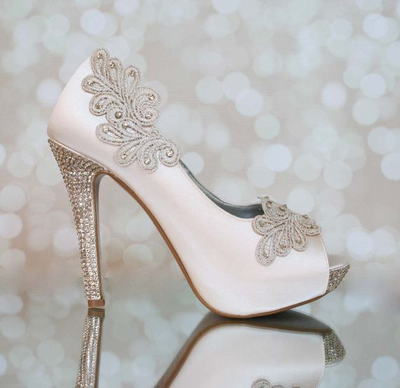 Wedding Shoes Blush Platform Peep Toe With Lace Accents Swarovski