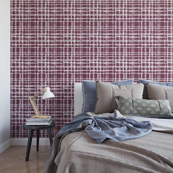 Edgy Plaid removable wallpaper / geometric self adhesive